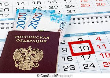 tien, bankpapier, kalender, verkleumder twee, opvallend, roebel, paspoort, duizend