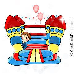 tien, childrens, amusement, -, eps, bouncy, vector, kasteel