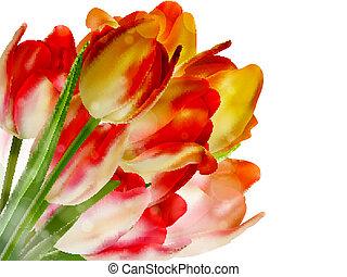 tien, copyspace., op, eps, tulpen, witte
