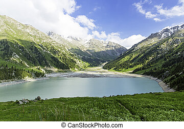 tien, espetacular, montanhas, panorâmico, lago, kazakhstan,...