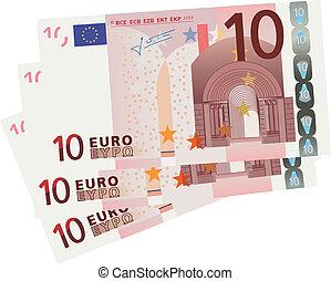 tien, eurobiljet, rekeningen