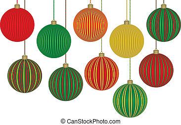 tien, fabelachtig, kerstballen