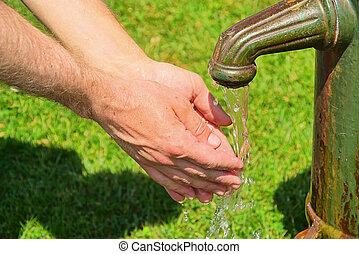 tien, het wassen hands
