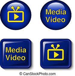 tien, iconen, tv, media, scherm, -, eps, knopen, vector, video