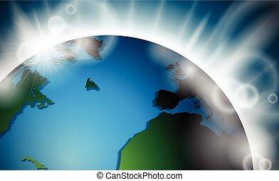 tien, illustration., barsten, licht, eps, space., planeet, vector, ontwerp, aarde, of, zonopkomst
