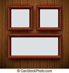 tien, illustration., houten, framework., eps, vector