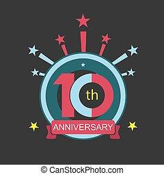 tien, jubileum, symbool, korting, jaren, logo