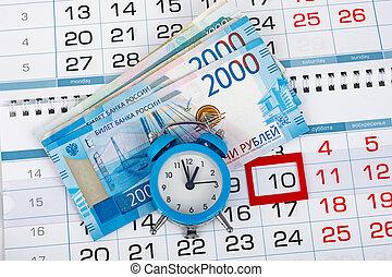 tien, kalender, russische , geld, klok, toegewijd, getal, troep