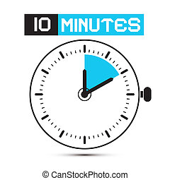 tien, klok, -, horloge, illustratie, stoppen, vector, notulen