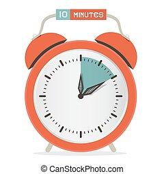 tien, klok, -, waarschuwing, horloge, illustratie, stoppen, vector, notulen