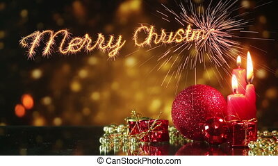 tien, leest, seconden, groet, vrolijk, jaar, nieuw, kerstmis...