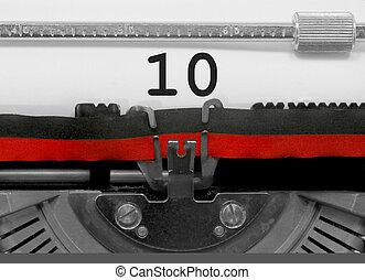 tien, oud, getal, papier, witte , typemachine