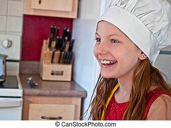 tien, oud, jaar, chef-kok's, meisje, hoedje, vrolijke