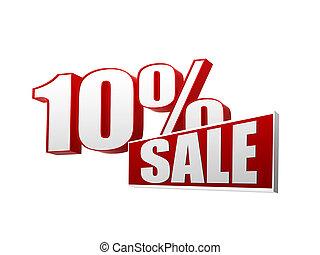 tien, percentages, verkoop, in, 3d, brieven, en, blok
