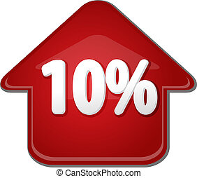 tien, procent, op, omhoog, richtingwijzer, bel, illustratie