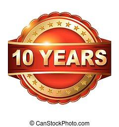 tien, ribbon., gouden, jubileum, jaren, etiket