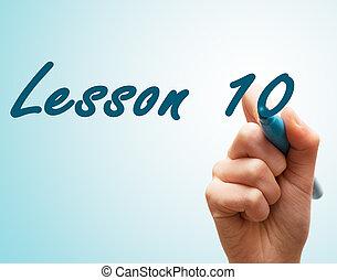 tien, scherm, schrijvende pen, handen, les