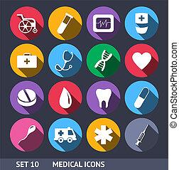 tien, set, iconen, medisch, lang, vector, schaduw