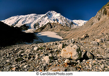Tien-Shan in Kyrgyzstan - Rocky terrain on the slopes of ...