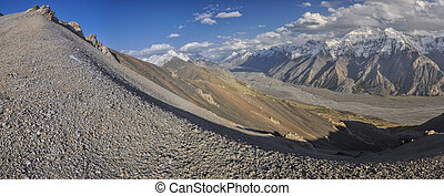 Tien-Shan in Kyrgyzstan - Scenic panorama of valley and ...