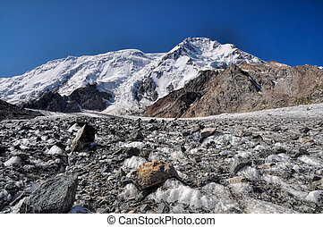 Tien-Shan in Kyrgyzstan - Scenic view of glacier and highest...