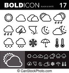 tien, stoutmoedig, iconen, eps, set.illustration, lijn