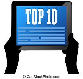 tien, tablet, bovenzijde, twee, scherm, gehouden, hands.