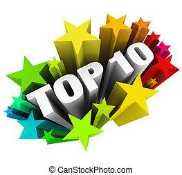 tien, tien, classificatie, bovenzijde, toewijzen, best, sterretjes, bespreken, vieren