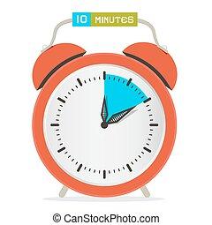 tien, tien, klok, horloge, waarschuwing, -, illustratie, stoppen, vector, notulen