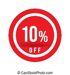 tien, van, aanbod, postzegel, -, teken., procent, verkoop, illustratie, vector, rood, bijzondere