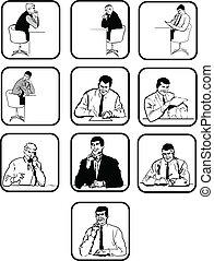 tien, vector, silhouettes, kantoor, men.