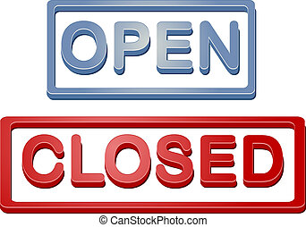 tienda, abierto, cerró signo