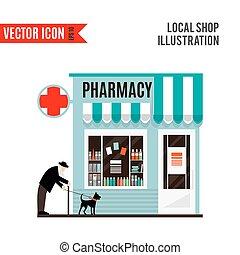 tienda, aislado, farmacia, fondo., blanco, icono