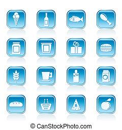 tienda, alimento y bebida, iconos