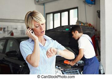 tienda, automóvil, mujer, reparación