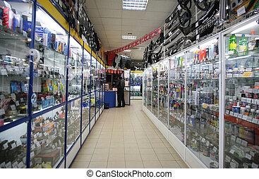 tienda, automóvil, partes