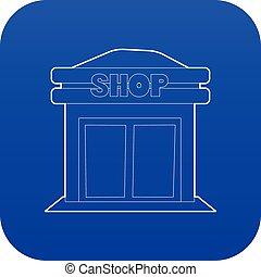 tienda, azul, vector, icono