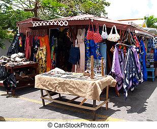 tienda, barbuda, antigua, zona lateral de camino