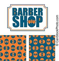 tienda, barbudo, ornament., pattern., cabeza, textura, ...