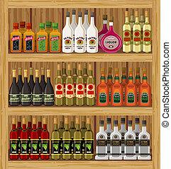 tienda, beverages., vector, alcohólico
