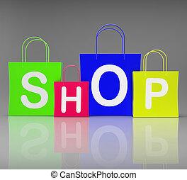 tienda, bolsas, exposición, compras al por menor, y, compra