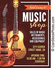 tienda, bosquejo, cartel, instrumento, vector, música,...