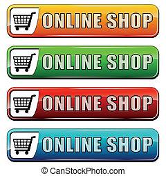 tienda, botones, en línea