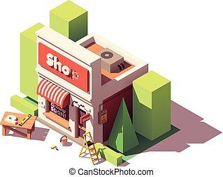 tienda, branding, isométrico, vector, icono