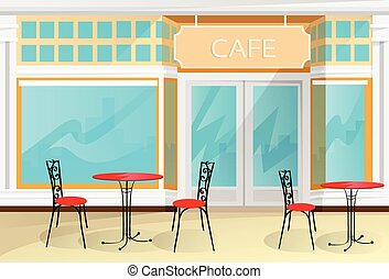 tienda, café, calle, sillas, vector, tabla, café