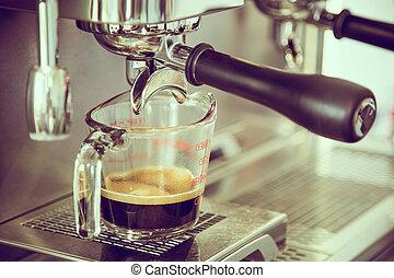 tienda, café, effect., vendimia, imagen, espresso, ), procesado, (, se prepara, filtrado