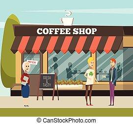 tienda, café, ilustración