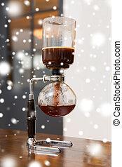 tienda, café, sifón, arriba, vacío, cierre, fabricante