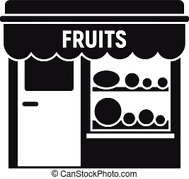 tienda, calle, icono, estilo, simple, fruits