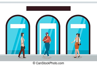 tienda, caracteres, plano de fondo, vector, mujeres, tienda, ilustración, windows., hembra